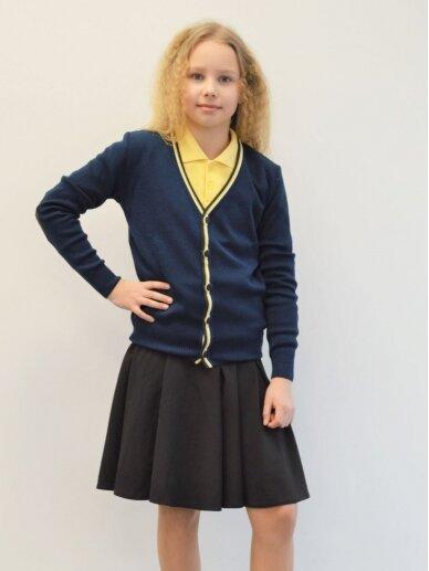 Susagstomas mėlynas megztinis su geltona ir balta juostele 2