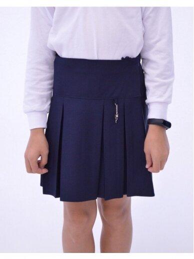 Tamsiai mėlynas klostuotas sijonas 2